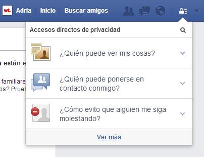 Menú desplegable de privacidad de Facebook.