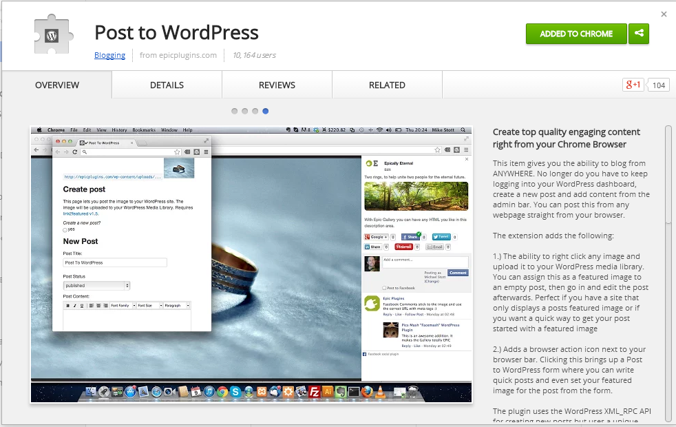 Extensión para Google Chrome Post to WordPress recomendada por WebCarpet™