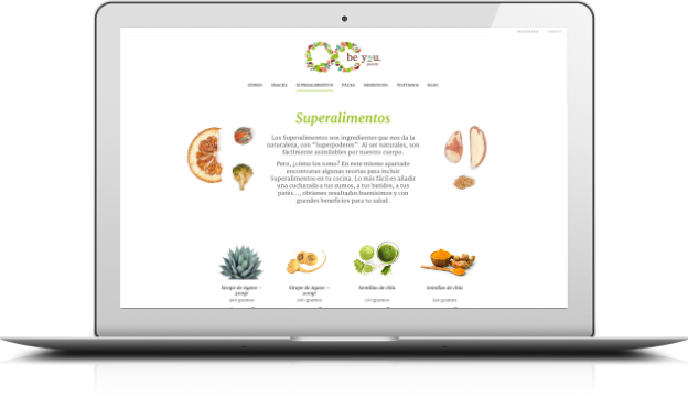 Proyecto ecommerce Be You Juicery diseño responsivo desarrollado por la agencia digital webcarpet