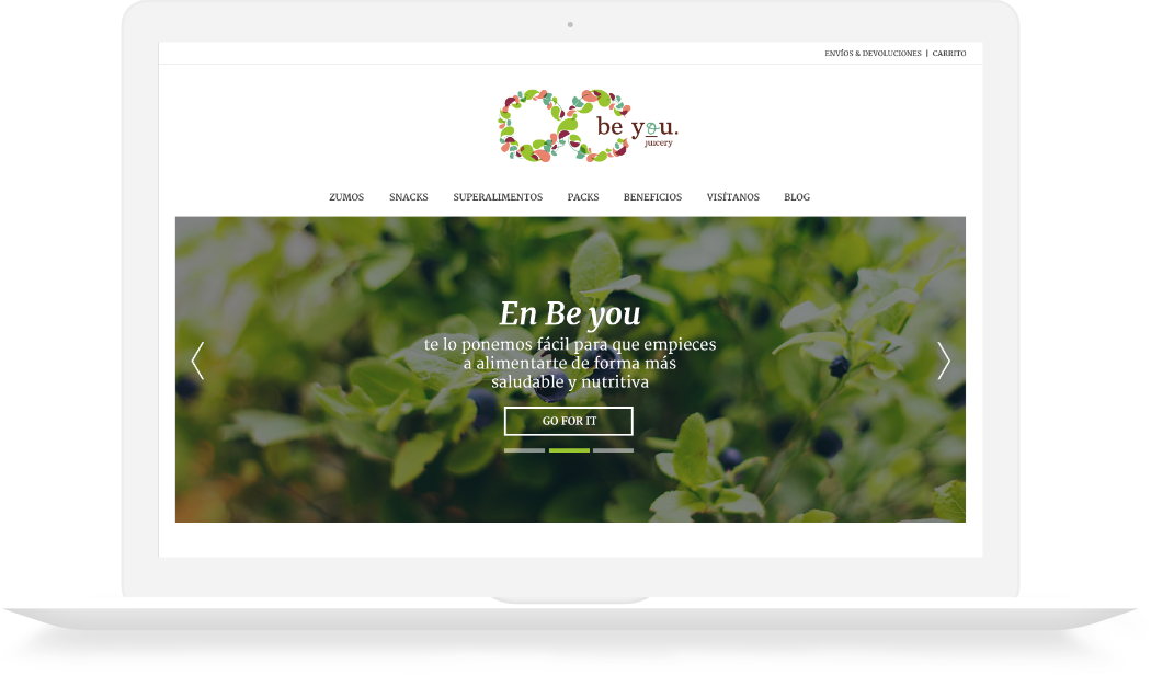 Proyecto Be You Juicery para portátil desarrollado por la agencia digital webcarpet