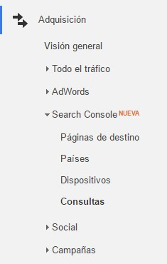 Search Console junto con Google Analytics